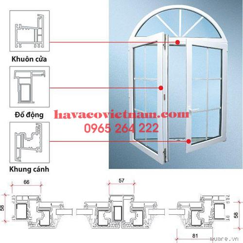 Cấu tạo cửa sổ mở quay nhựa lõi thép