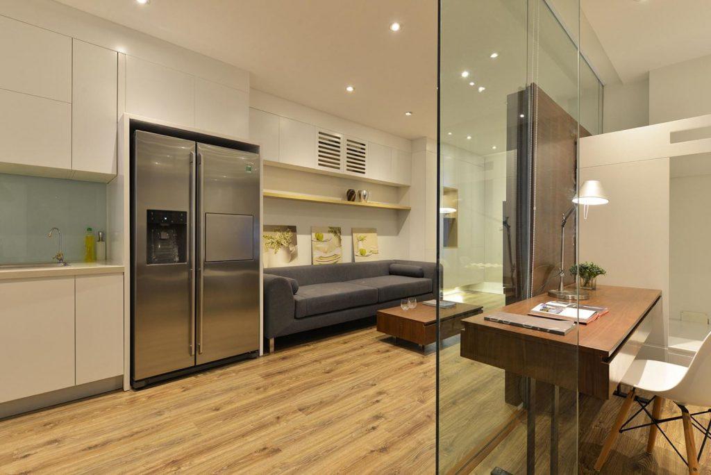 Vách ngăn kính cường lực cho phòng khách và phòng bếp