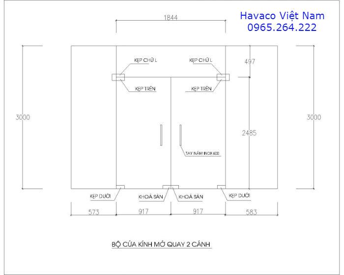 Bản vẽ cad cửa kính cường lực mở quay ( cửa thủy lực)