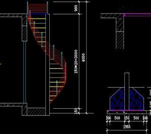Bản vẽ cad cầu thang xoắn ốc