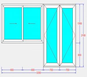 Bản vẽ cửa nhựa lõi thép trước khi cắt các thanh profile nhựa