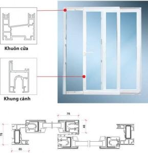 Cấu tạo cửa sổ mở trượt nhựa lõi thép