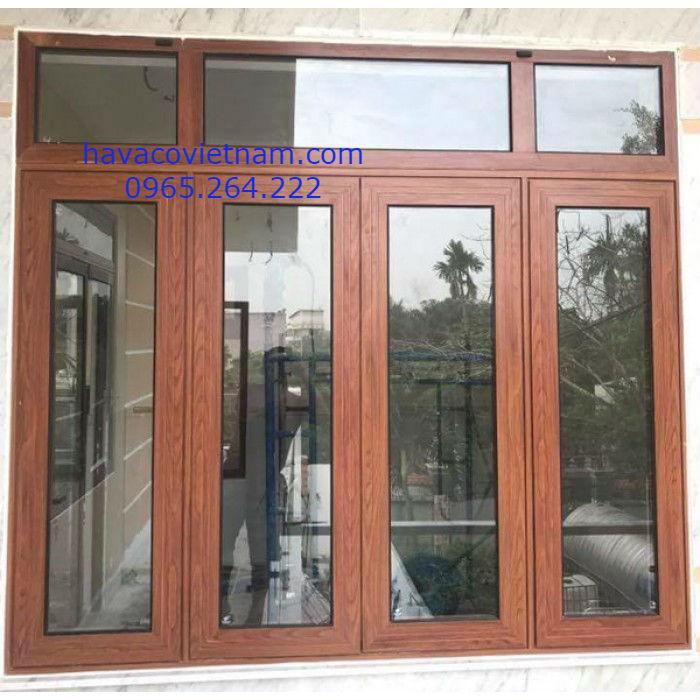 Mẫu cửa nhôm kính vân gỗ Xingfa