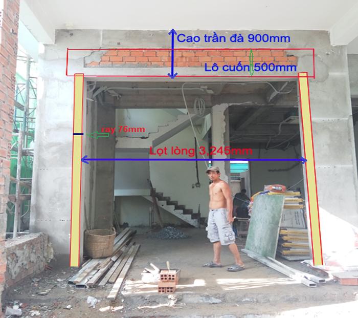 Cách xây tường chờ để lắp đặt cửa cuốn