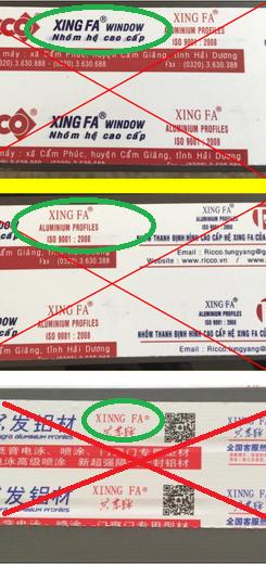 Thanh nhôm Xingfa không phải hàng chính hãng