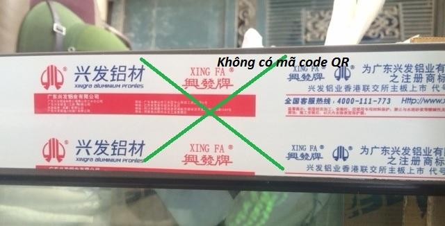 Tem mác thanh nhôm không chứa mã code QR